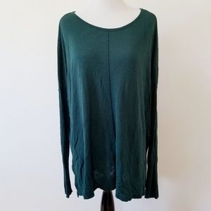 Dark Green H&M Long Sleeve High-low Top